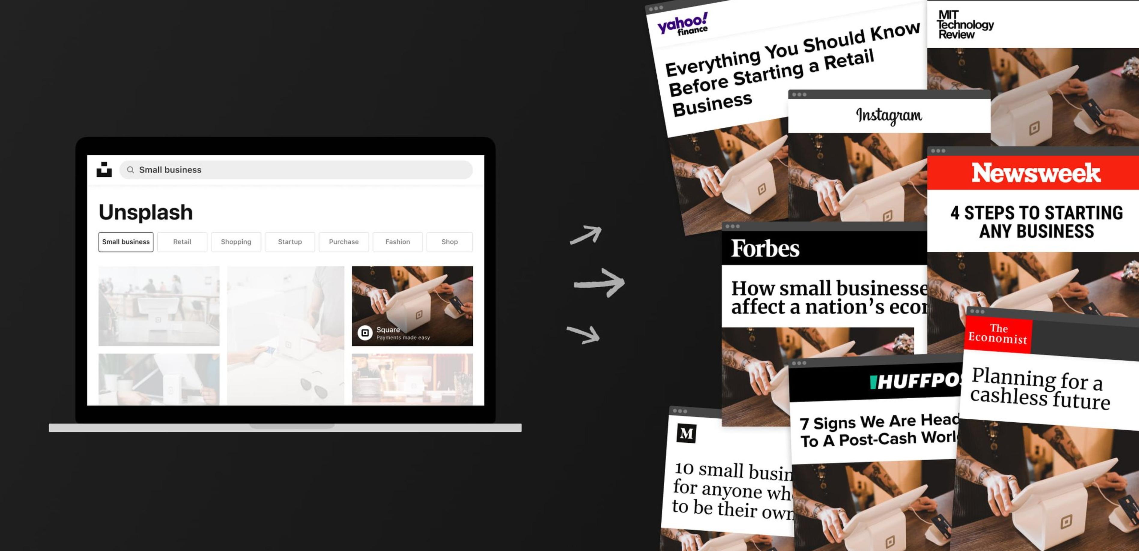 Screenshot: Darauf die Visualisierung des Vorgangs der Verbreitung eines Fotos von Unsplash (links als Website) auf unterschiedliche Newsportale (rechts als Screenshots von Yahoo, MIT, Forbes, Instagram etc.)